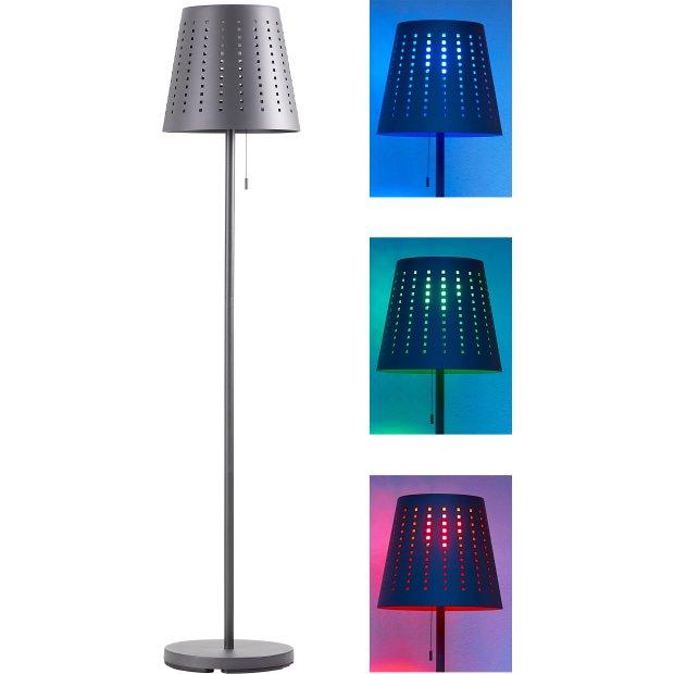 Northpoint Akku LED Stehleuchte Standleuchte Stehlampe 150cm mit Solarpanel und Fernbedienung für den Außenbereich Farbwechsel Warmweiß