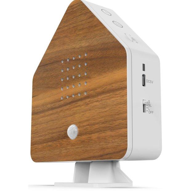 Northpoint Naturgeräuschebox Vogel Gesang Vogelzwitscher Box Bewegungsmelder Vogelgeräusche Licht Aufladbar mit Wandhalterung Holz