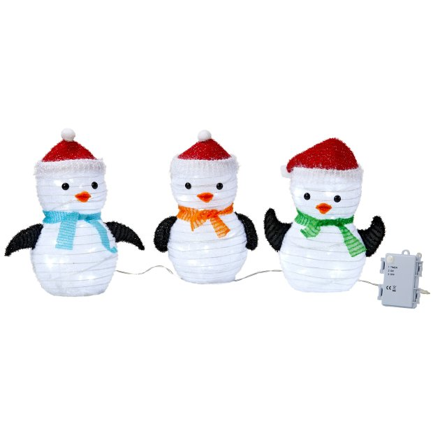 Northpoint LED Weihnachtsfiguren mit integriertem Timer 3er Set Pinguin
