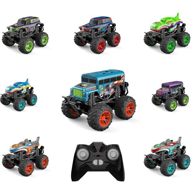 Northpoint Aufladbares RC Auto Ferngesteuerter Monstertruck Spielzeug LED Licht echter Rauch Fernbedienung aufladbarem Akku wechselbare Cover