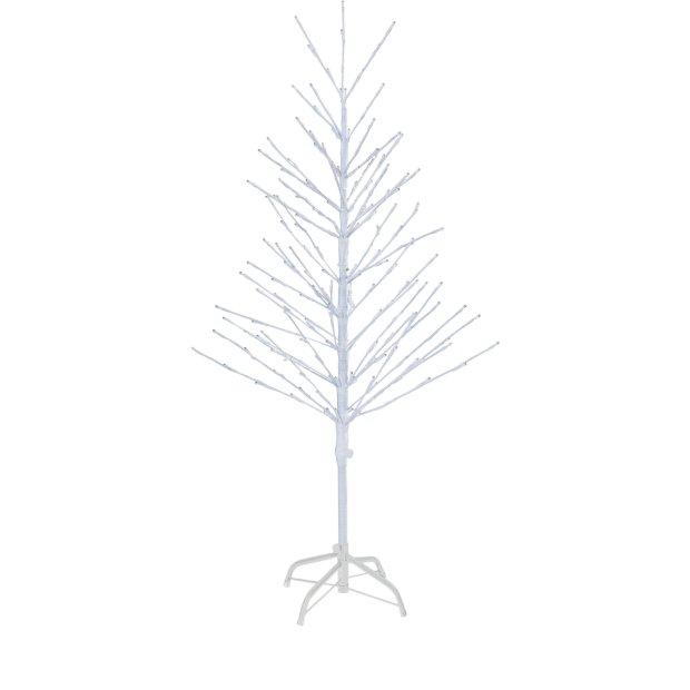Northpoint LED Lichtbaum Weiß Weihnachtsdeko In- & Outdoor   200 warmweiße LEDs   120cm hoch   elastische Zweige   Timerfunktion   IP44 Spritzwassergeschützt