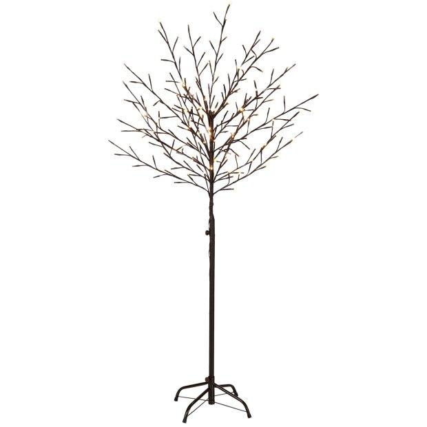 LED Lichtbaum Braun Weihnachtsdeko In- & Outdoor   200 warmweiße LEDs   150cm hoch   elastische Zweige   Timerfunktion   IP44 Spritzwassergeschützt
