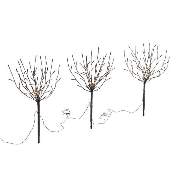 Northpoint LED Sträucher Braun Weihnachtsdeko Outdoor | 3X 60 warmweiße LEDs | 65cm hoch | elastische Zweige | Timerfunktion | IP44 Spritzwassergeschütz