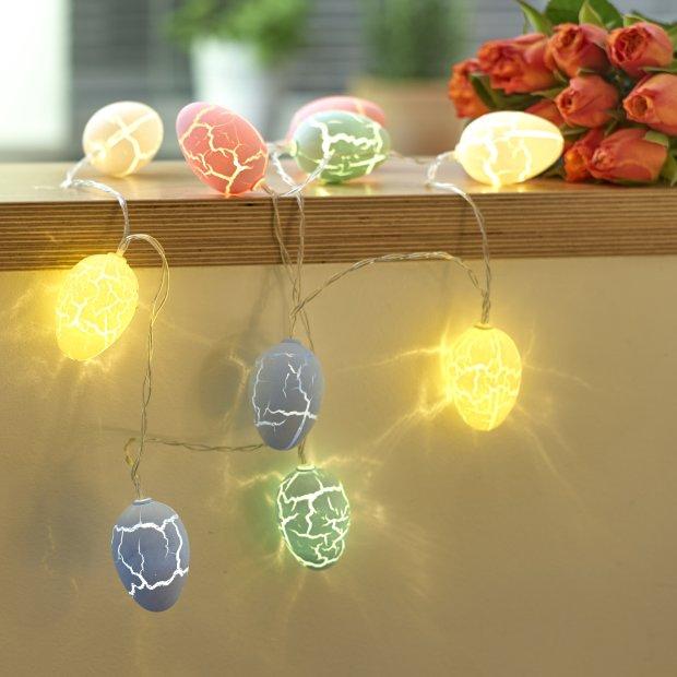 LED Ostereier Oster Lichterkette mit Batterie 10 Warmweiße Leuchtostereier Ostern Batteriebetrieben 175cm lang Timerfunktion