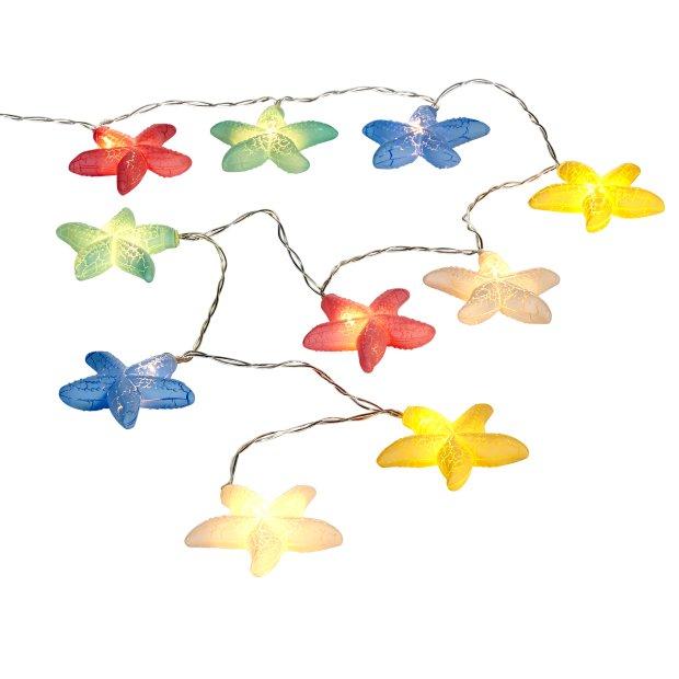 LED Sternen Lichterkette mit Batterie 10 Warmweiße Leuchtsterne Kristall Sternen Batteriebetrieben 175cm lang Timerfunktion