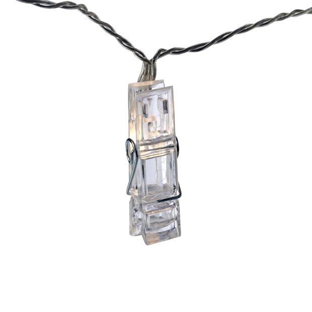 LED Fotoklammer Lichterkette mit Batterie 10 Warmweiße Leuchtklammer Batteriebetrieben 175cm lang Timerfunktion
