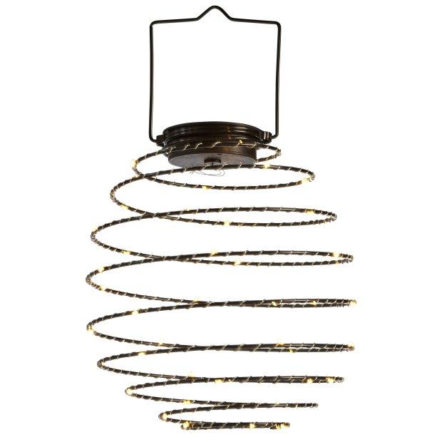 Northpoint LED Solar Spiral Laterne 22cm Durchmesser Hängelaterne Gartendekoration Wintergartendekoration Terrassendekoration Schwarz