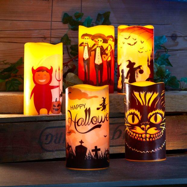LED Halloween Kerzen Echtwachs verschiedene Modelle...