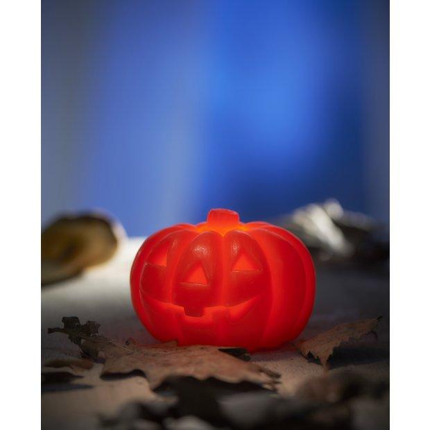 LED Halloween Dekoration Echtwachs Kerzen Kürbis Doppelpack Flackerlicht warmweiß inkl. Batterien Ø7,5cm