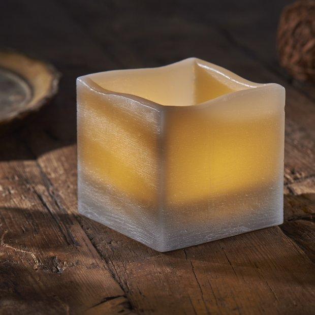 LED Echtwachs Kerze mit natürlicher Flackerfunktion und integriertem 6 Stunden Timer Eckig Grau