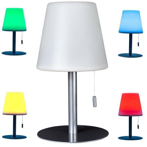 LED Tischleuchte Tischlampe wasserfest wiederaufladbar mit Farbwechselfunktion