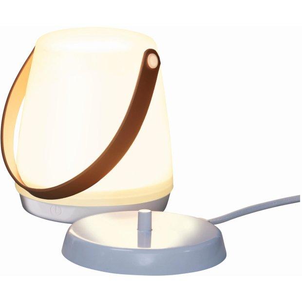 LED Laterne mit Akku und Induktionsladung tragbar Griff Braun Kunstleder Henkel Camping