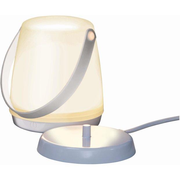 LED Laterne mit Akku und Induktionsladung tragbar Griff Weiß Kunstleder Henkel Camping