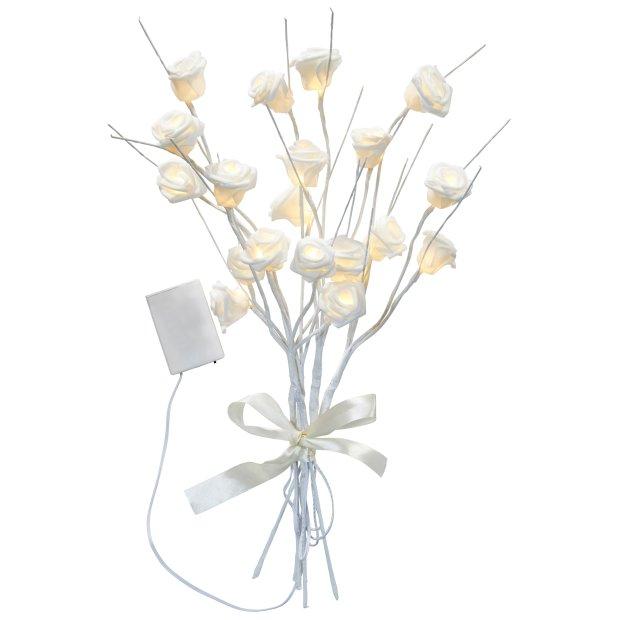LED Pflanze Dekozweige Rosenzweige Rosenblüten Lichterzweige Dekoration 54cm hoch Timerfunktion inkl. Batterien 20 warmweiße LED
