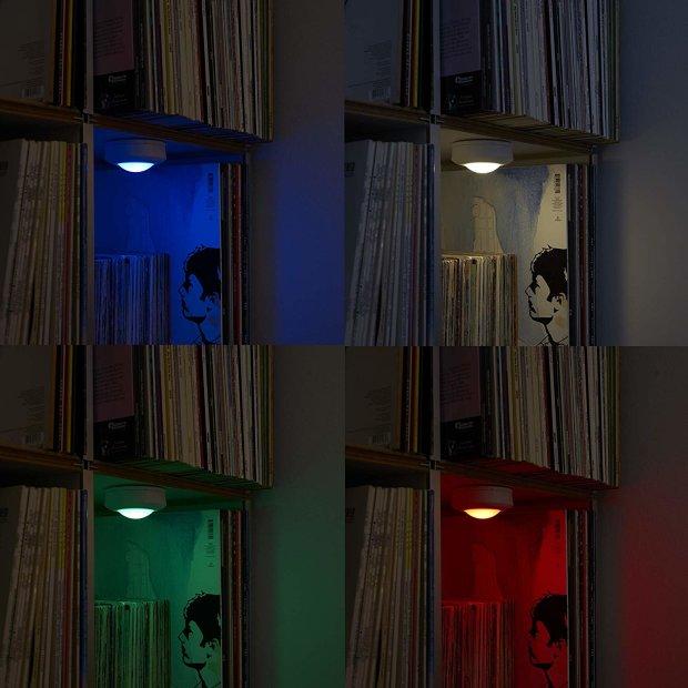 LED Spots 6er Set Beleuchtung Set bis zu 35 Stunden Laufzeit Unterbau Küchenlampe Schrankbeleuchtung TV Farbwechsel Vitrine Warmweiß Dimmbar Timer inkl. Batterien Touch Fernbedienung Batteriebetrieben