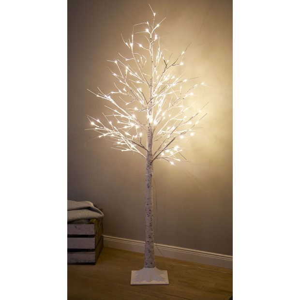 LED Lichtbaum Indoor & Outdoor Birkenoptik 180cm 200 warmweiße LEDs inkl. Timer